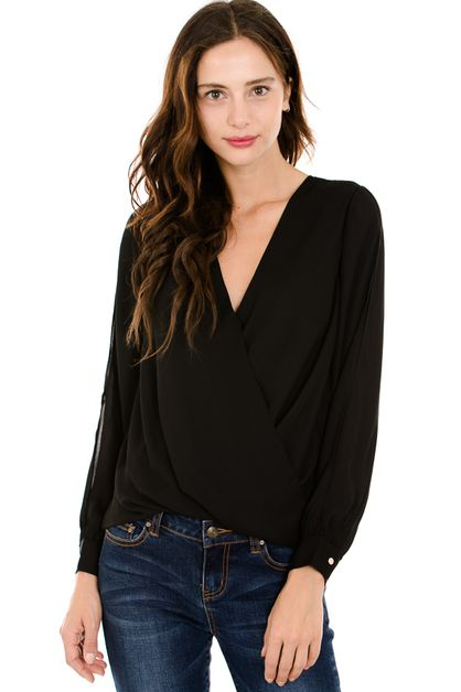 Solid v-neck long sleeve surplice - orangeshine.com