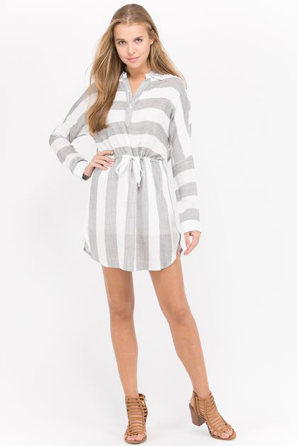Stripe dolman sleeve shirt dress - orangeshine.com