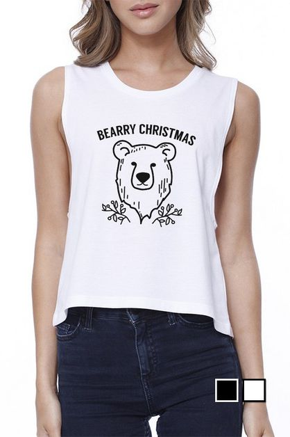 Bearry Christmas Bear Crop Tee - orangeshine.com