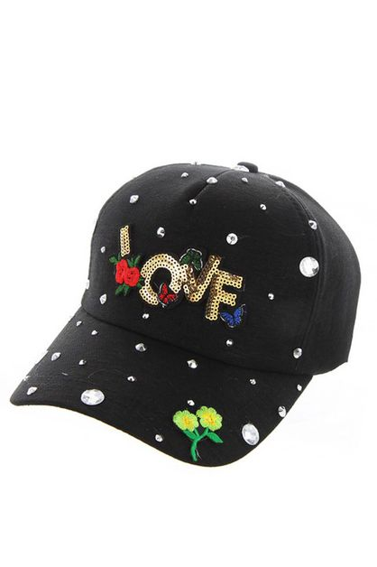 BLACK LOVE CAP WITH STUDS - orangeshine.com