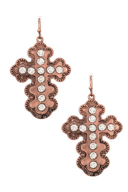 LARGE STUDDED CROSS DANGLE EARRING  - orangeshine.com