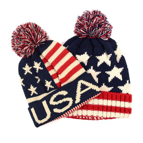 12pc American Flag Knit Beanie Hats - orangeshine.com