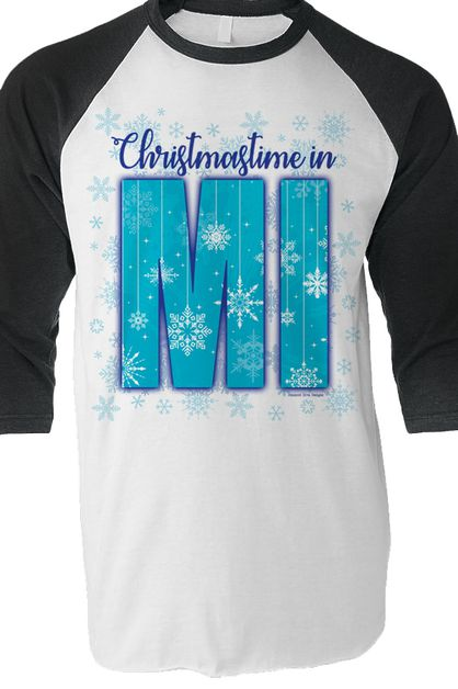 Christmastime in Michigan raglan tee - orangeshine.com