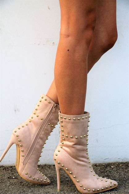 stud accent booties - orangeshine.com