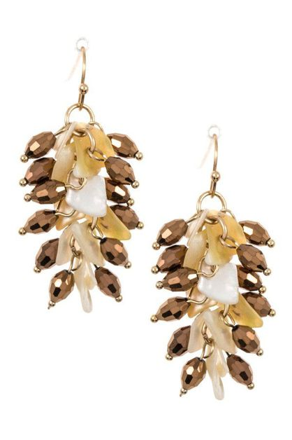 Crystal Shell Cluster Dangle Earring - orangeshine.com