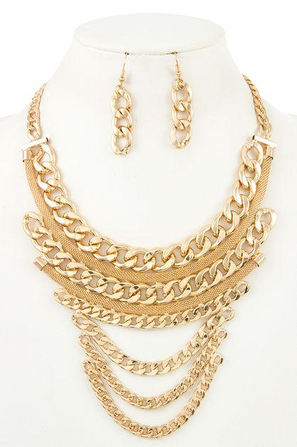 TIERED CHAIN BIB NECKLACE SET - orangeshine.com