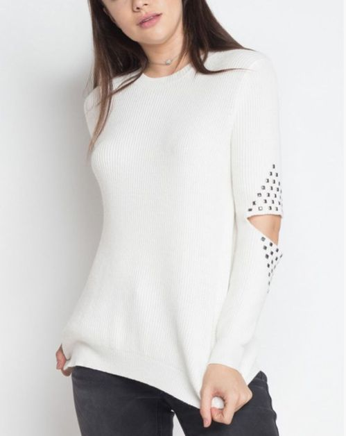 STUDDED DETAIL PULLOVER SWEATER - orangeshine.com