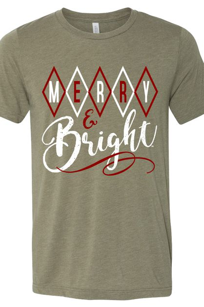 Merry and Bright Heather Olive Tee - orangeshine.com