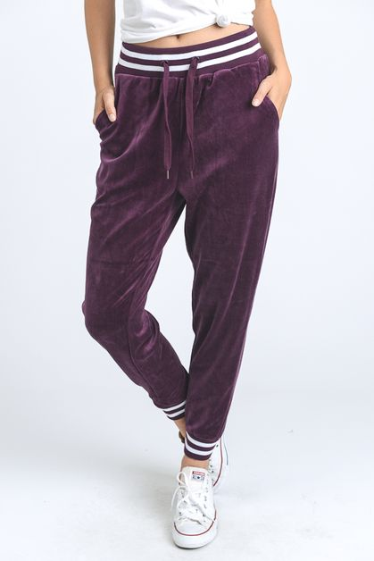 Velour Striped Cuff Joggers - orangeshine.com