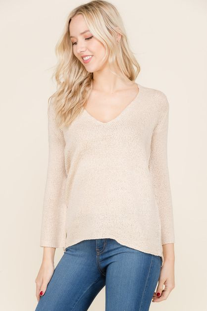 Long Sleeve V Neck Knit Sweater  - orangeshine.com