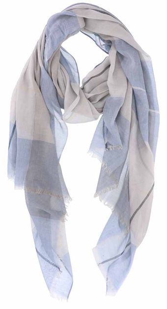 Soft Semi Sheer Blue Oblong Scarf - orangeshine.com