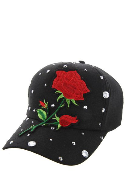 SINGLE ROSE ON BLACK CAP WITH STUDS - orangeshine.com