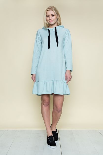 LITTLE RUFFLE HOODIE MINI DRESS - orangeshine.com