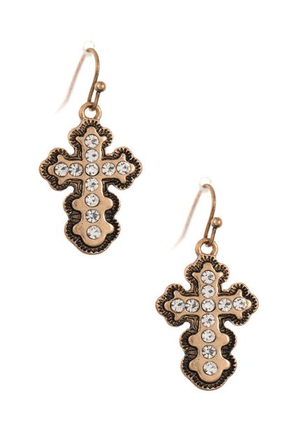 STUD CROSS ORNATE DANGLE EARRING  - orangeshine.com