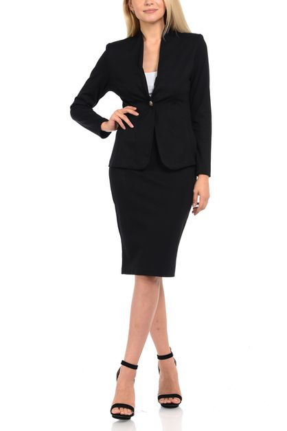 Solid skirt suit set with blazer and - orangeshine.com