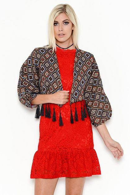 TASSELED CROPPED PRINT CARDIGAN - orangeshine.com