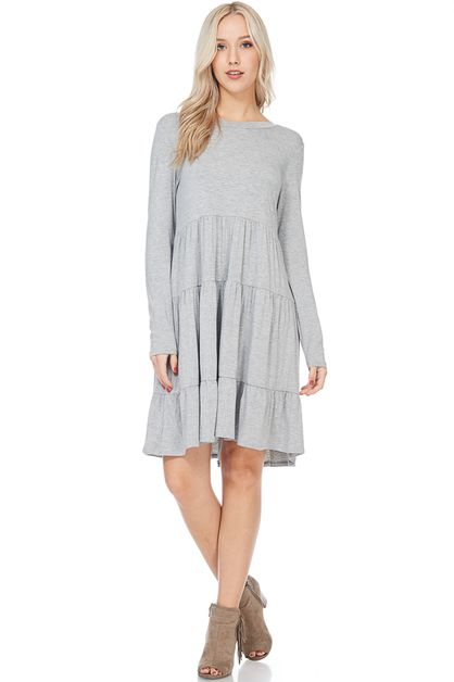 RUFFLED LONG SLEEVE DRESS  - orangeshine.com