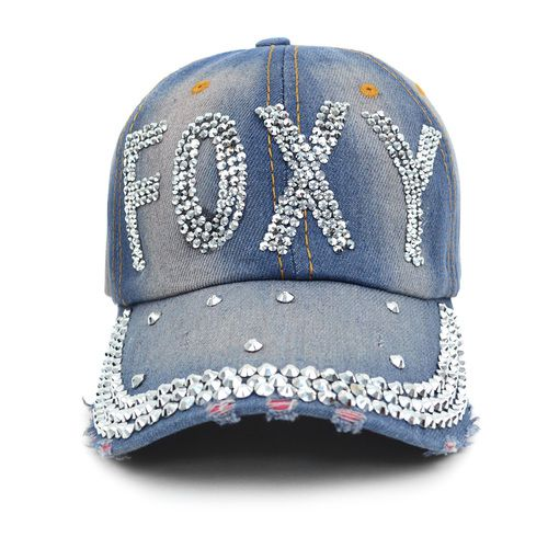 Bling Studs Denim Baseball Cap - orangeshine.com