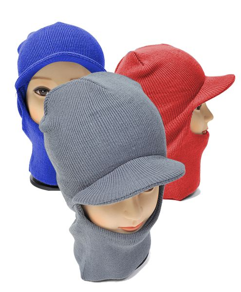 12pc Knit Ski Mask with Visor Cap - orangeshine.com