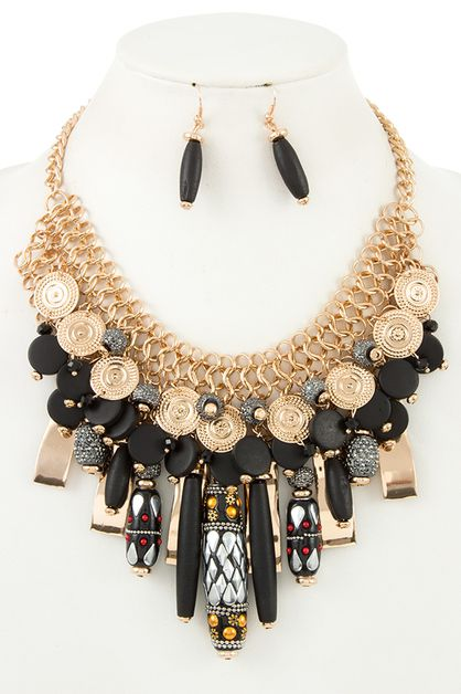 MIX ORNATE LINK  BIB NECKLACE SET - orangeshine.com