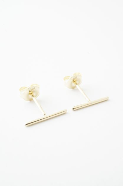 Wire Middle Bar Earrings - 14k Gold - orangeshine.com