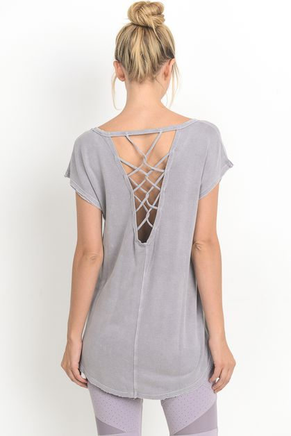 LATTICE STRAP BACK ACCENT BLOUSE - orangeshine.com
