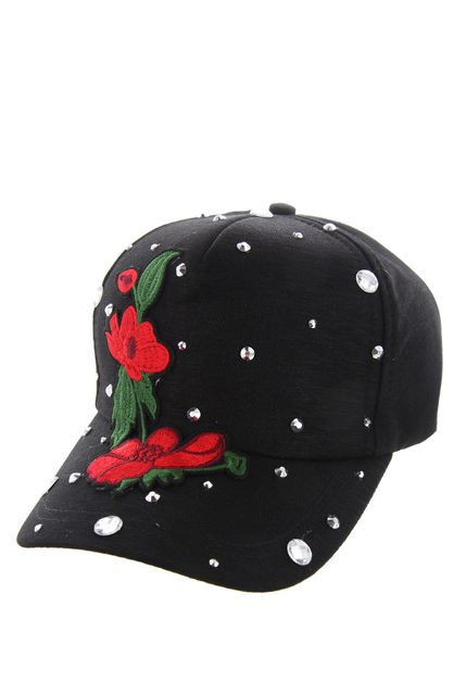 RED ROSES ON BLACK CAP WITH STUDS - orangeshine.com