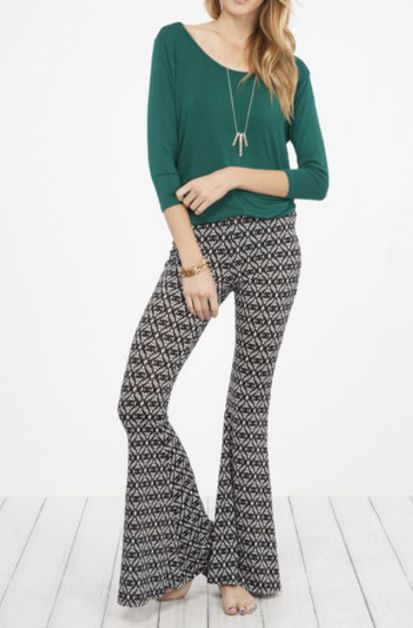 SIMPLE PRINTED SPANDEX PANTS - orangeshine.com
