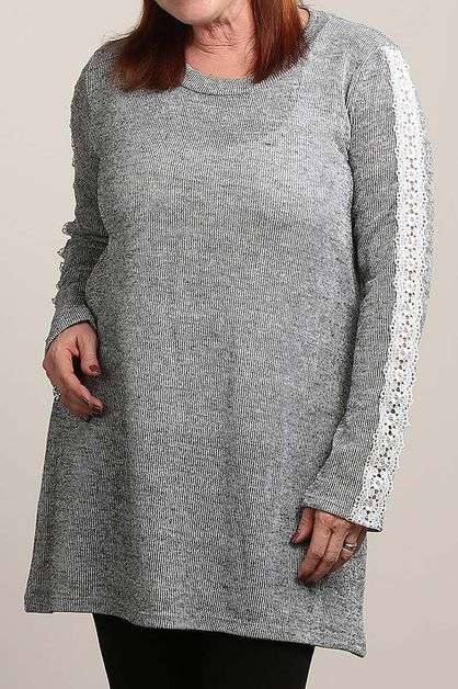 MARBLE SWEATER TUNIC WITH LACE TRIM - orangeshine.com