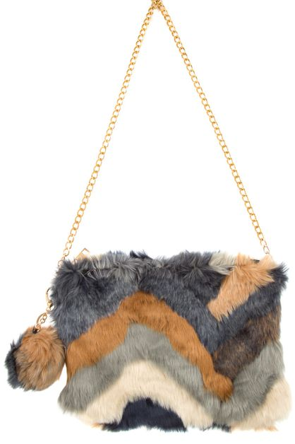 Mix Pattern Furry Clutch Bag - orangeshine.com