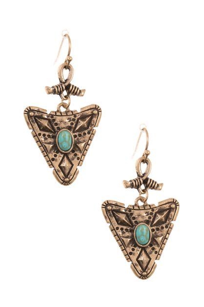 ETCHED ARROWHEAD DROP DANGLE EARRING - orangeshine.com