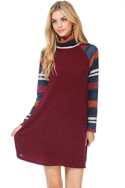COWL NECK DRESS WITH STRIPED SLEEVES - orangeshine.com