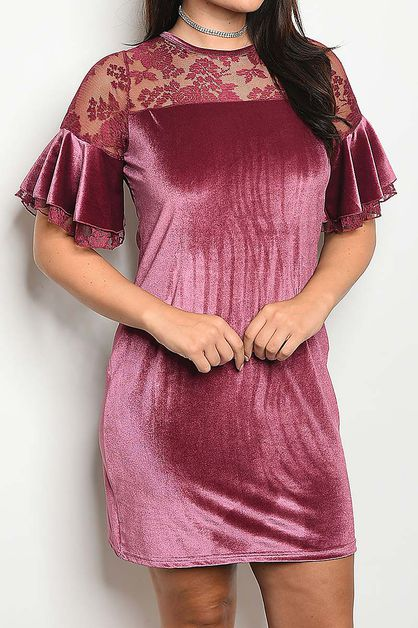 LACE SHOULDER VELVET DRESS  - orangeshine.com