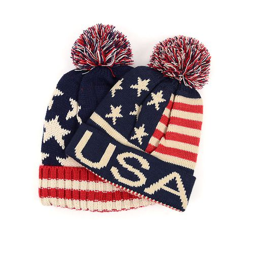 12pc Kids American Flag Kniit Hats - orangeshine.com