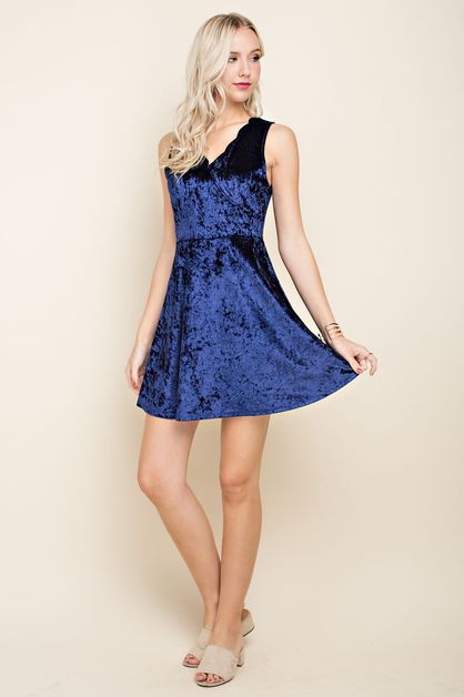 Velvet Scallop Fit and Flare Dress - orangeshine.com