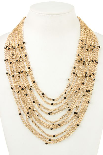 MULTI CHAIN GEM STATION LAYERED NECK - orangeshine.com