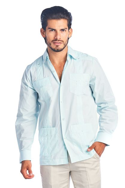 Mens Guayabera Shirt Poly Cotton LS - orangeshine.com