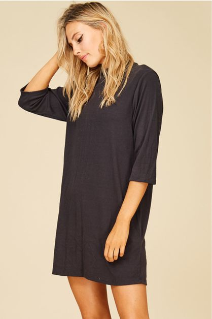 SOLID HIGH NECK DRESS - orangeshine.com