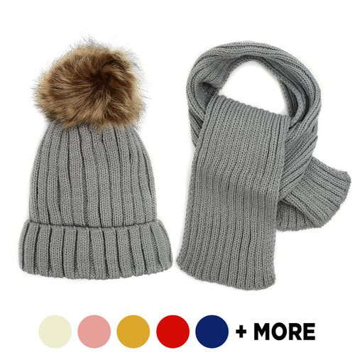 Kids Knitted Beanie Scarf and Hat - orangeshine.com
