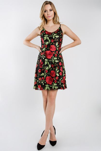 Floral embroidery cocktail dress  - orangeshine.com