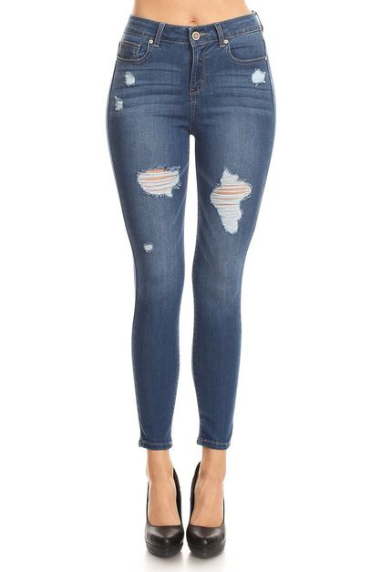 Distressed ankle skinny jeans - orangeshine.com