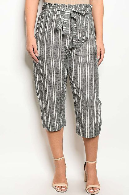 WAIST TIE STRIPED MIDI PANTS - orangeshine.com