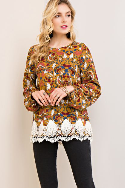 Floral print scoop-neck top - orangeshine.com