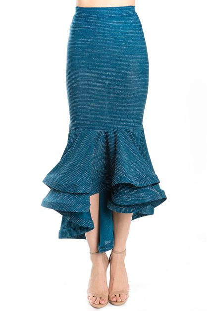 Teal Textured Mermaid Maxi Skirt - orangeshine.com