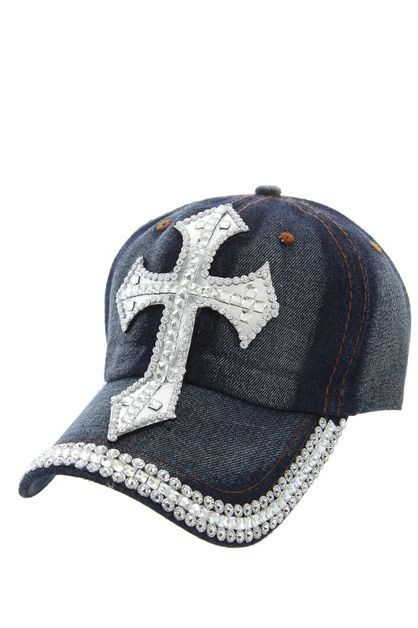 BLING CROSS DENIM CAP WITH STUDS ON  - orangeshine.com