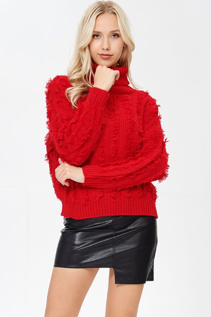 TURTLE NECK SWEATER KNIT TOP - orangeshine.com