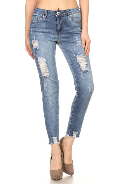 CROPPED DISTRESSED ANKLE JEANS - orangeshine.com
