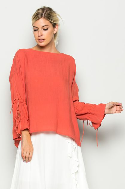 SELF-TIE SLEEVE TOP - orangeshine.com