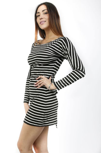 BLACK WHITE CASUAL DRESS - orangeshine.com
