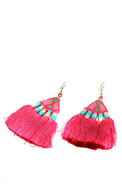 Beaded Tassel Dangle Earrings - orangeshine.com